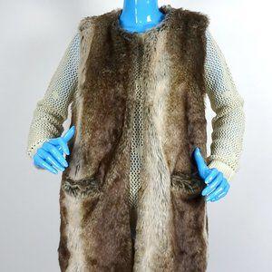 Lucky Brand Faux Fur Festival Vest M 8 10 Pockets